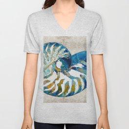Beachy Art - Nautilus Shell Bleu - Sharon Cummings Unisex V-Neck