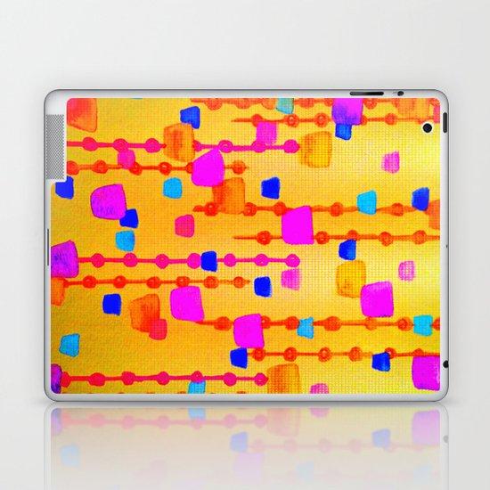 POLKA DOT MATRIX - Bright Bold Cheerful Dotty Geometric Squares Circles Abstract Watercolor Painting Laptop & iPad Skin