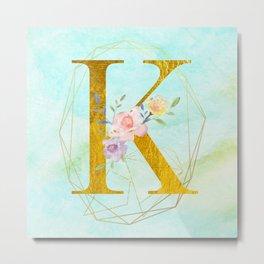 Gold Foil Alphabet Letter K Initials Monogram Frame with a Gold Geometric Wreath Metal Print