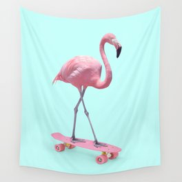 SKATE FLAMINGO Wall Tapestry