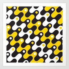 Yellow & black waves Art Print