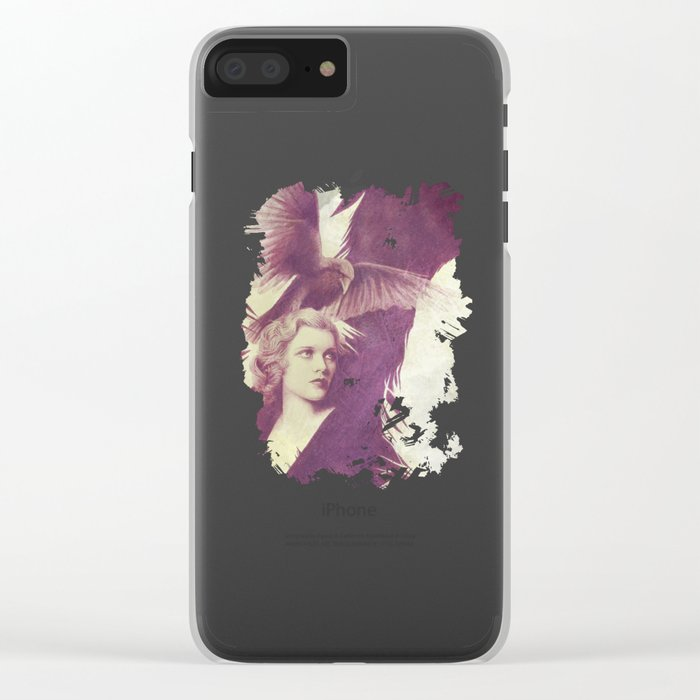 Purple vintage girl with raven Clear iPhone Case