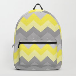 Yellow Grey Gray Ombre Chevron Backpack