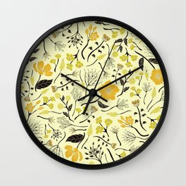 Yellow, Green & Black Floral/Botanical Pattern Wall Clock