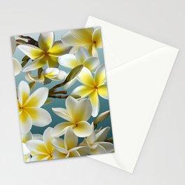Plumeria on Blue Stationery Cards