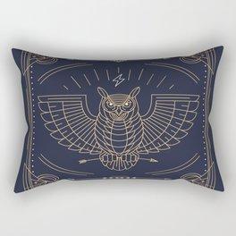 Owl Gold on Black with White Pattern Rectangular Pillow