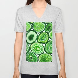 Green agate pattern watercolor Unisex V-Neck