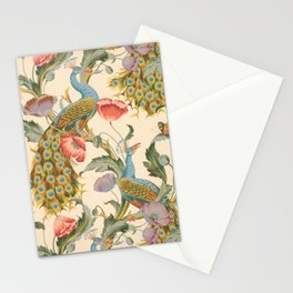 Vintage Peacock and Floral Design, 1896 Stationery Cards