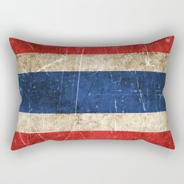 Vintage Aged and Scratched Thai Flag Rectangular Pillow