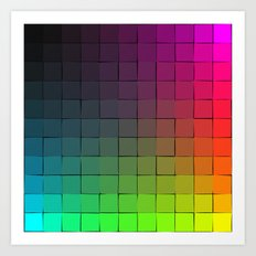 Rainbow squares Art Print