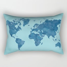 Vintage and distressed teal world map Rectangular Pillow