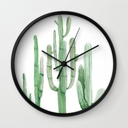 Three Amigos White + Green by Nature Magick Wall Clock