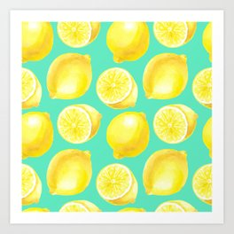 Watercolor lemons pattern Art Print
