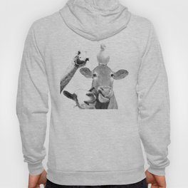 Black and White Farm Animal Friends Hoody