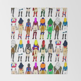 Superhero Butts - Girls - Row Version - Superheroine Throw Blanket