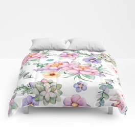 Pastel pink lavender green watercolor hand painted floral Comforters
