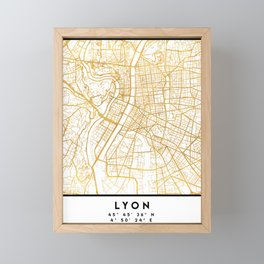 LYON FRANCE CITY STREET MAP ART Framed Mini Art Print