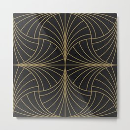 Diamond Series Inter Wave Gold on Charcoal Metal Print