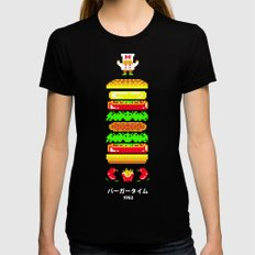 BurgerTime LARGE Womens Fitted Tee Black