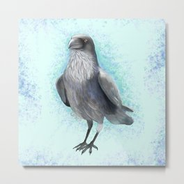Raven Watercolor Artwork, Turquoise Background , Birds Collection Metal Print