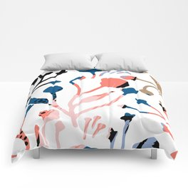 Mauve pink black blue abstract floral illustration Comforters