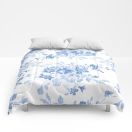 Modern navy blue white watercolor elegant floral Comforters