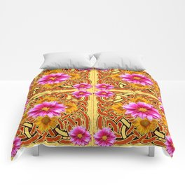 Yellow & Brown Celtic Design Yellow Art Purple Dahlias Comforters