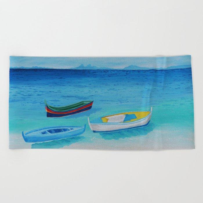 Rowboats Beach Towel