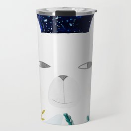 polar bear with botanical illustration in blue Travel Mug