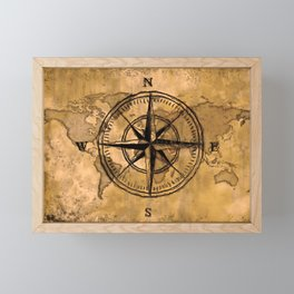 Destinations - Compass Rose and World Map Framed Mini Art Print