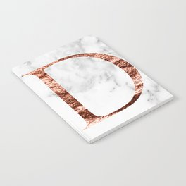 Monogram rose gold marble D Notebook