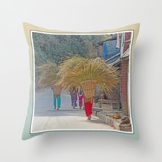 CARRYING GRASS FODDER THROUGH VILLAGE IN NEPAL Throw Pillow