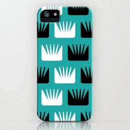 Mid Century Modern Abstract Flowers Teal iPhone Case