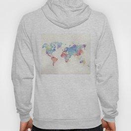 Watercolour world map Hoody