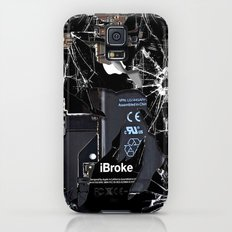 Broken, rupture, damaged, cracked black apple iPhone 4 5 5s 5c, ipad, pillow case and tshirt Slim Case Galaxy S5