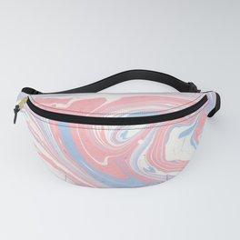 Modern abstract pink coral blue watercolor marble Fanny Pack