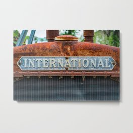 Rusting International Radiator Closeup Vintage Antique Tractor Rust Metal Print