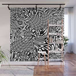 Black  and white psychedelic optical illusion Wall Mural