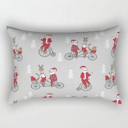 Santa christmas holiday hipster kids tandem bike with reindeer grey Rectangular Pillow