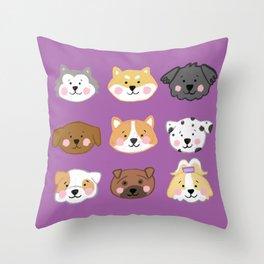 Nine Cute Dogs in Purple Throw Pillow