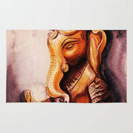 Ganesha watercolor. Meditation concept. Rug