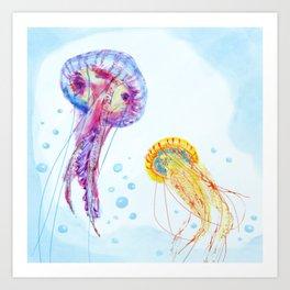 Watercolor Jellyfish Sea World Swimming Art Print