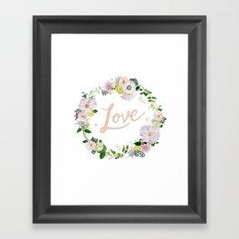 Love Pink Flower Wreath Framed Art Print