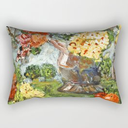 Flowers,  Fruit and a Cathedral Rectangular Pillow