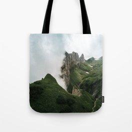 Foggy mountain ridge in Switzerland - Landscape Photography Tote Bag
