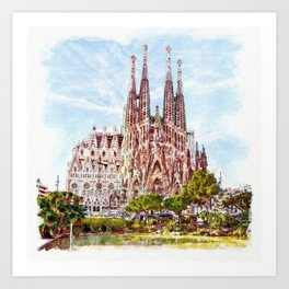 La Sagrada Familia watercolor Art Print