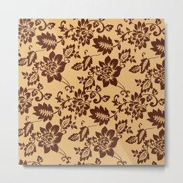 Brown Flowers Pattern Metal Print
