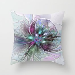 Colorful Fantasy Abstract Modern Fractal Flower Throw Pillow