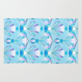 Blue Purple and Silver Art Deco Rug