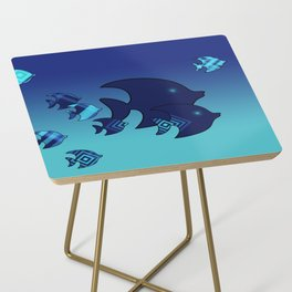 Nine Blue Fish with Patterns Side Table